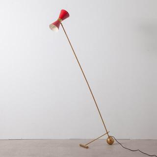 アクタス(ACTUS)のStilnovo イタリアン 真鍮 ビンテージ フロアライト スタンドライト赤(フロアスタンド)