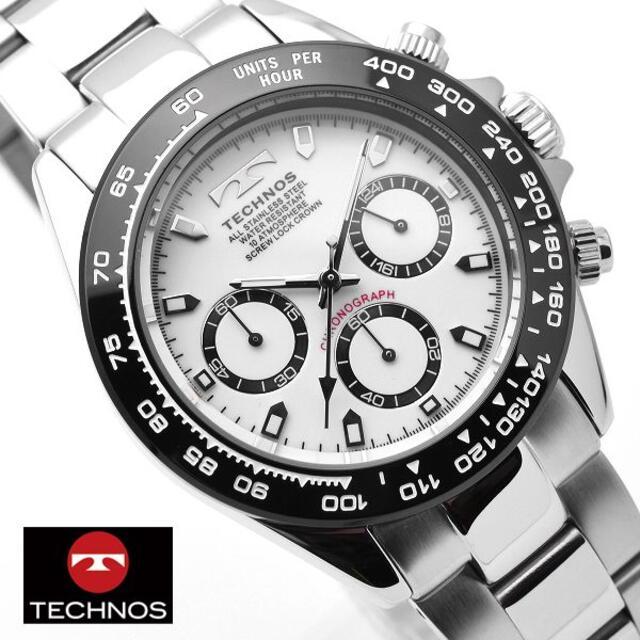 TECHNOS(テクノス)のテクノス 腕時計 メンズ TECHNOS クロノグラフ ホワイト シルバー 時計 メンズの時計(腕時計(アナログ))の商品写真