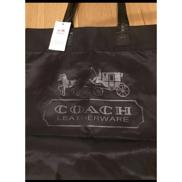 COACH(コーチ)の新品未使用 コーチ エコバッグ 買い物袋 トートバッグ 黒(タグ付き) レディースのバッグ(エコバッグ)の商品写真
