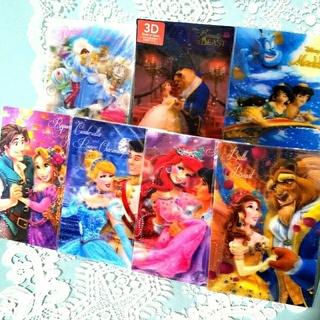 ディズニー(Disney)の【5】プリンセスカップル♥️3Dポストカード(カード)