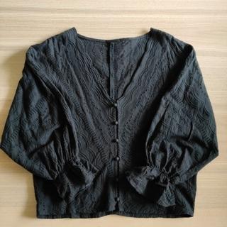 BLASTY ☆トップス スカラップ 刺繍 ブラック ブラウス シャツ M(シャツ/ブラウス(長袖/七分))