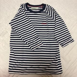 LAUNDRY - ランドリー Laundry 七分袖Tシャツ Sサイズ 白/紺ボーダー