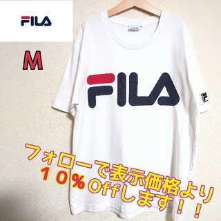 FILA - フィラ Tシャツ Mサイズ デカロゴ ビッグロゴ ロゴT プリントT