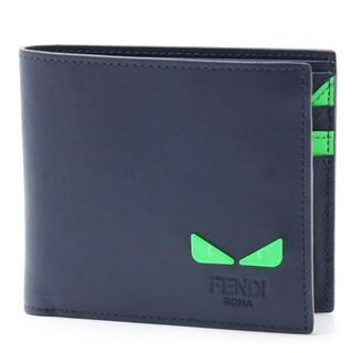 フェンディ(FENDI)の新品 FENDI モンスター2つ折り財布 バッグバグズ ネイビー(折り財布)