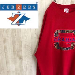 ジャージーズ 80s USA製 刺繍ロゴワッペン スウェット ペイズリー 裏起毛(スウェット)