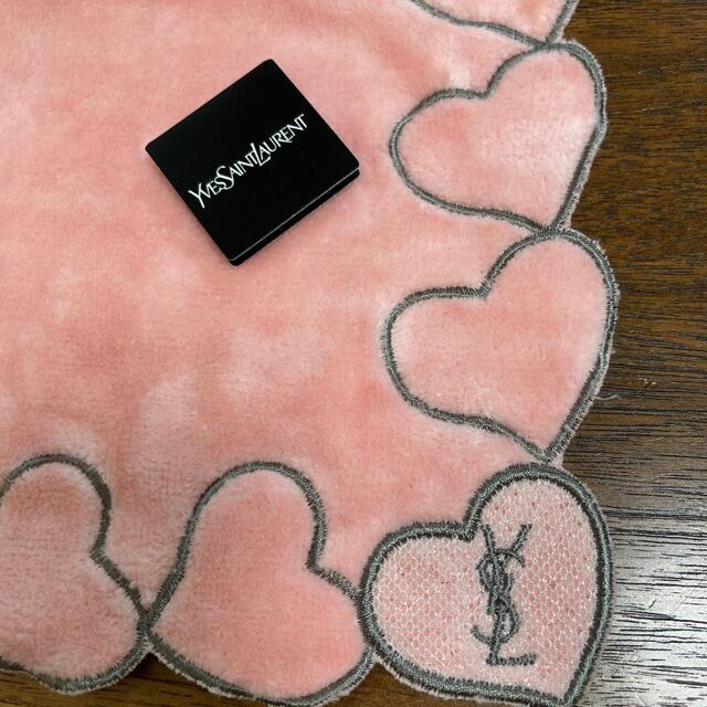 Saint Laurent(サンローラン)のイヴサンローラン タオルハンカチ ハート リボン ラインストーン 新品 未使用 レディースのファッション小物(ハンカチ)の商品写真