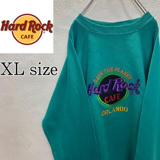 ROCK HARD - 【USA製】ハードロックカフェ トレーナー大人気 刺繍ロゴ ビッグロゴオーランド