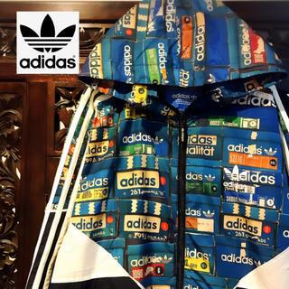 adidas - アディダス ロゴいっぱい ウィンドブレーカー ナイロンパーカー ジャージ