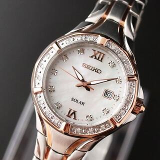 SEIKO - 【電池交換不要】海外セイコー レディース腕時計 ソーラー ダイヤモンド 展示品