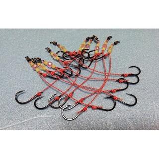 お試し価格 遊動テンヤ 替え針 10セットNSブラックバージョン オマケ付き(釣り糸/ライン)