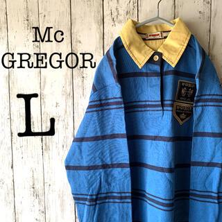 マグレガー(MacGregor)の【McGREGOR×ラガーシャツ】古着 メンズ マックレガー 青 黒 ★刺繍ロゴ(ポロシャツ)