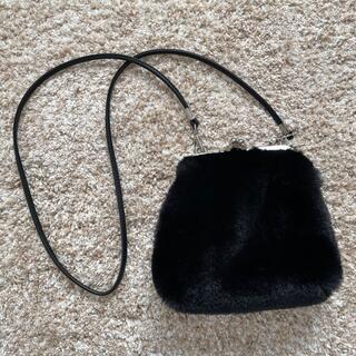 黒 ブラック がま口バッグ ショルダーバック ファー素材(ショルダーバッグ)