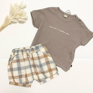 futafuta - テータテート チェック パンツ セットアップ ワッフル 半袖 トップス Tシャツ