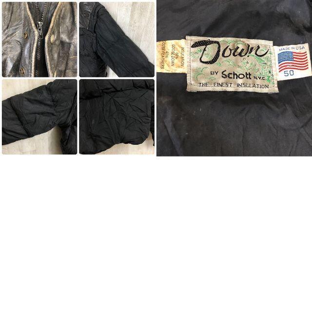 schott(ショット)のショット 2way レイヤード グースダウンジャケット レザー ベスト USA製 メンズのジャケット/アウター(ダウンジャケット)の商品写真