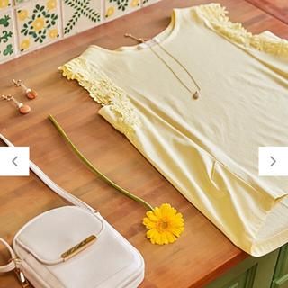 エニィスィス(anySiS)のCRISP COOL ノースリーブ トップス イエロー(Tシャツ(半袖/袖なし))