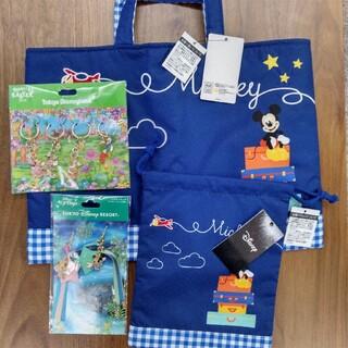 ディズニー(Disney)のJAL限定  ディズニーミッキーマウス バッグ キーホルダー ストラップのセット(レッスンバッグ)