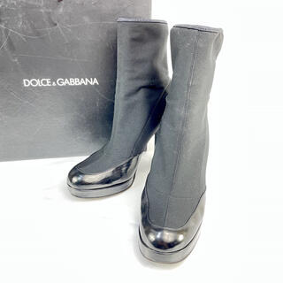 ドルチェアンドガッバーナ(DOLCE&GABBANA)のドルガバ 厚底 ソックスブーツ チャンキーヒール レザー 36ハーフ(ブーツ)