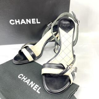 シャネル(CHANEL)のシャネル ココマーク バイカラー ストラップ サンダル キルティング 351/2(サンダル)