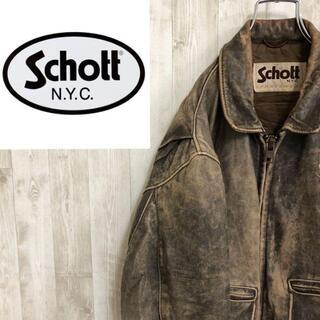 ショット(schott)のショット Schott 70s レザーフライトジャケット USA製 G-2タイプ(レザージャケット)