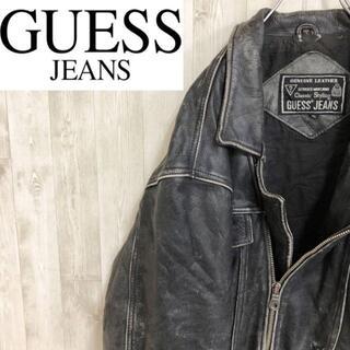 ゲス(GUESS)のゲス GUESS JEANS ダブルライダースジャケット ビッグサイズ 本革(ライダースジャケット)