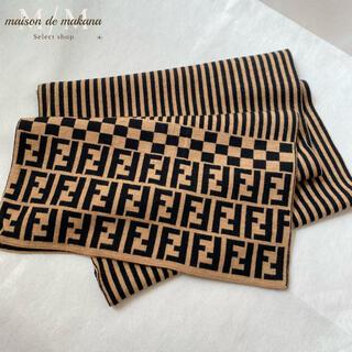 FENDI - 値下げ❤美品 FENDI フェンディ マフラー ウールマフラー ズッカ  ロゴ