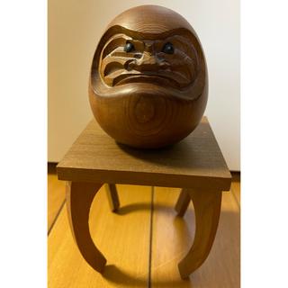 縁起物 天然木 達磨 だるま ダルマ 木彫置物 H6.5×W6×D6(cm)(彫刻/オブジェ)