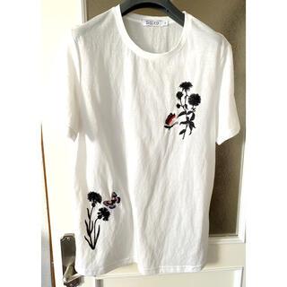 アナスイ(ANNA SUI)の試着のみSPACK9size L 白Tシャツ✨蝶々🦋の刺繍ビーズ装飾が可愛い(Tシャツ(半袖/袖なし))