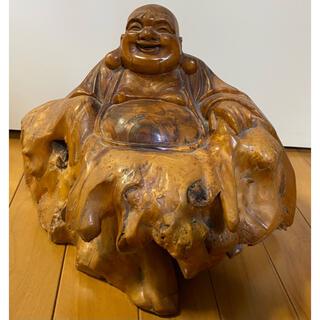 縁起物 天然木 七福神 布袋様 一刀彫 木彫置物 H26×W35×D30(cm)(彫刻/オブジェ)