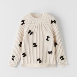 ザラ(ZARA)のタイムセール❣️新品❤︎ZARA❤︎リボン付きコットンニットセーター春服(ニット/セーター)