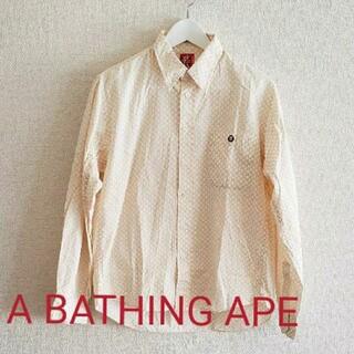アベイシングエイプ(A BATHING APE)のA BATHING APE エイプ総柄ワンポイント刺繍長袖シャツsizeM(シャツ)