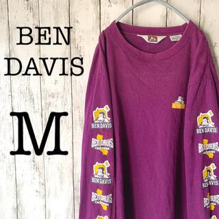 ベンデイビス(BEN DAVIS)の【BEN DAVIS×紫】古着 90's メンズ トップス ロンT ★アームロゴ(Tシャツ/カットソー(七分/長袖))