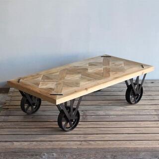 【送料無料・新品未使用】センターテーブル アイアン ブルックリンスタイル (ローテーブル)