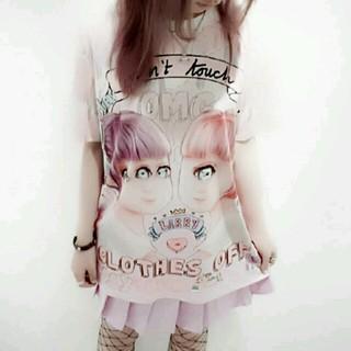 ファンキーフルーツ(FUNKY FRUIT)のやみかわ奇形双子少女フリークスガールTシャツ 半袖 グラフィックT  (Tシャツ(半袖/袖なし))