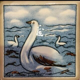 アラビア(ARABIA)のARABIA ヘルヤ 陶板画 Swan(陶芸)