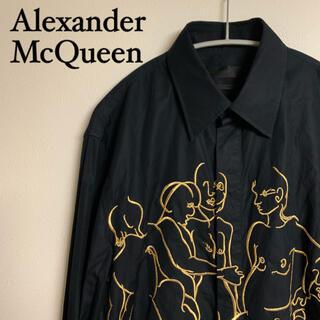 Alexander McQueen - 【美品】Alexander McQueen マックイーン シャツ 刺繍 黒