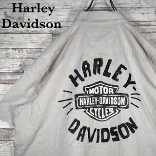 ハーレーダビッドソン(Harley Davidson)の【古着】希少 ハーレーダビッドソン 刺繍ロゴ オーバーサイズ 半袖シャツ XL(シャツ)