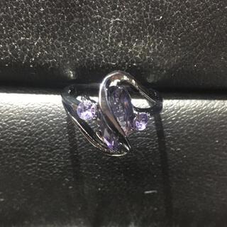 おしゃれ かわいい デザイン パープルダイヤモンド レディースブラック指輪(リング(指輪))