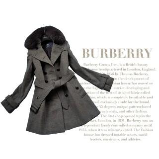 BURBERRY - 超高級 バーバリー ロンドン 一級品モダンベルテッドコート 豪華リアルファー