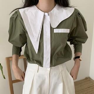 dholic - アンバランス襟 配色 ブラウス シャツ【2color】