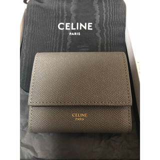 celine - CELINE セリーヌ スモール トリフォールドウォレット グレー 美品