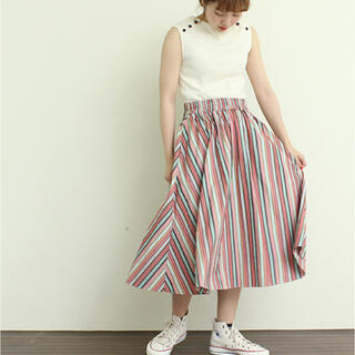 ドットアンドストライプスチャイルドウーマン(Dot&Stripes CHILDWOMAN)のマルチストライプAラインスカート CHILDWOMAN(ひざ丈スカート)