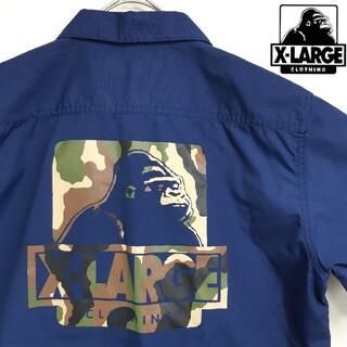 XLARGE - 【美品】 エクストララージ デカロゴ ハーフジップ カモ柄 迷彩 半袖 シャツ