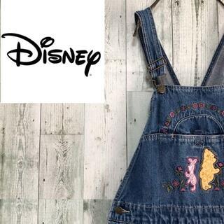 ディズニー(Disney)のDisney デニムオーバーオール 刺繍ロゴ プーさん ピグレット サロペット(サロペット/オーバーオール)