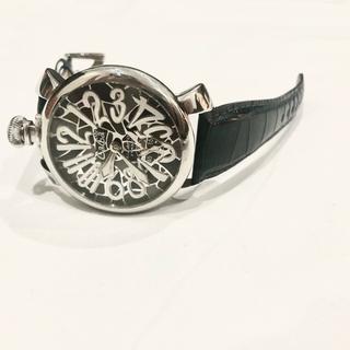 ガガミラノ(GaGa MILANO)の【美品】ガガミラノ GagaMirano 機械式 腕時計 メンズ モザイク 迷彩(レザーベルト)