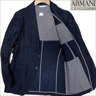 ARMANI COLLEZIONI - J3130 美品 アルマーニコレッツォーニ リネン テーラードジャケット紺48R