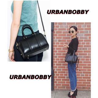 アーバンボビー(URBANBOBBY)のURBANBOBBY ショルダー付きミニボストンバッグ 本革 黒 BAG(ショルダーバッグ)