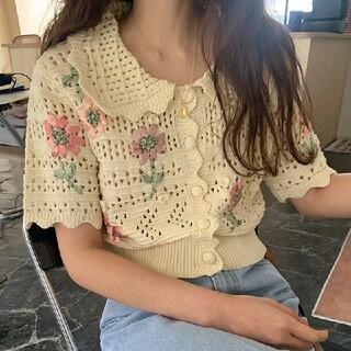 ZARA - 花刺繍 かぎ針編み 半袖ニット