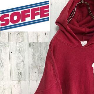 アンソフィーバックバック(ANN-SOFIE BACK/BACK)のSOFFE USA製 プリントスウェット 80s~90s 裏起毛 フード レッド(スウェット)