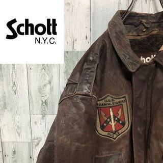 ショット(schott)のSchott レザージャケット A-2 80s ヴィンテージ フライトジャケット(レザージャケット)