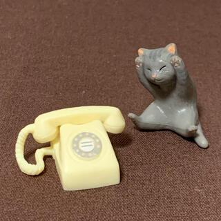 エポック(EPOCH)の昭和家電と猫 2 電話(白)とアメショ猫(ミニチュア)